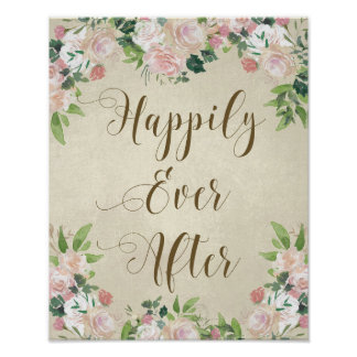 happily ever after vintage roses wedding sign poster
