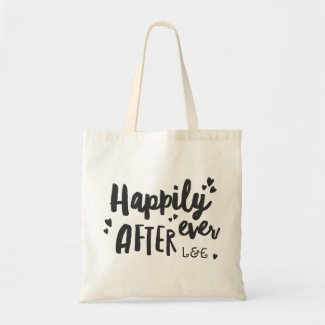 Happily ever after wedding gift tote bag