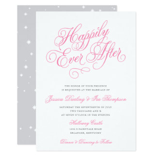 Happily Ever After Wedding Invitation Pink & Gray
