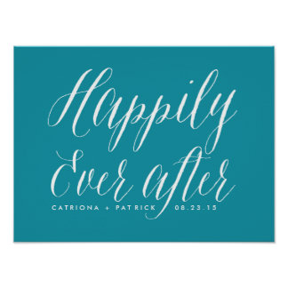 Happily Ever After Wedding Poster | Teal