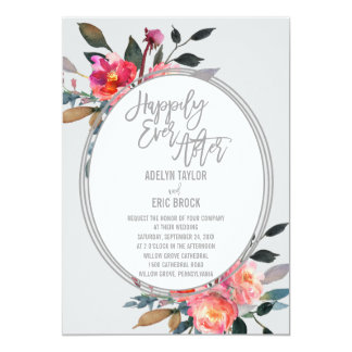 Happily Ever After | Winter Flower Wreath Wedding Card