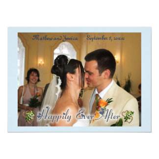 Happily Ever After with Hearts Wedding Photo Card