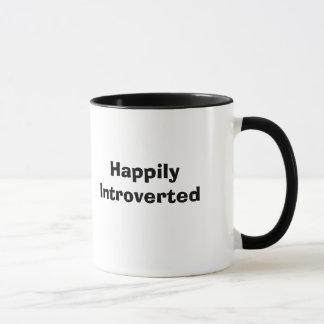 Happily Introverted White Ringer Mug