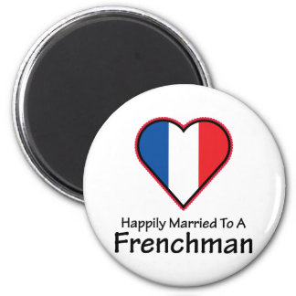 Happily Married Frenchman 2 Inch Round Magnet