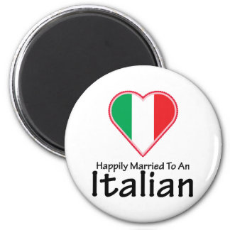Happily Married Italian 2 Inch Round Magnet