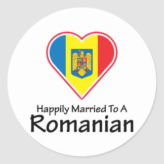 happily married Romanian Round Sticker