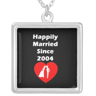 Happily Married Since 2004 Silver Plated Necklace