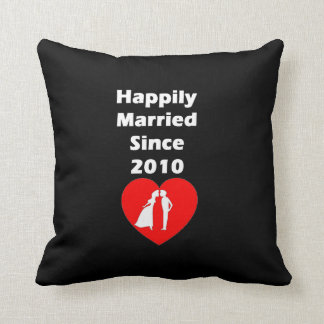 Happily Married Since 2010 Throw Pillow