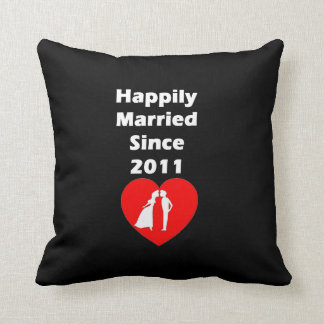 Happily Married Since 2011 Throw Pillow