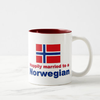 Happily Married To A Norwegian Two-Tone Coffee Mug