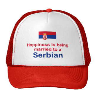 Happily Married To A Serbian Gifts Trucker Hat