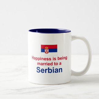 Happily Married To A Serbian Two-Tone Coffee Mug