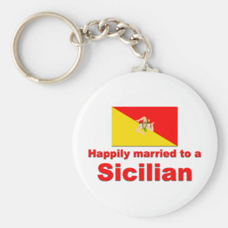 Happily Married to a Sicilian Keychain