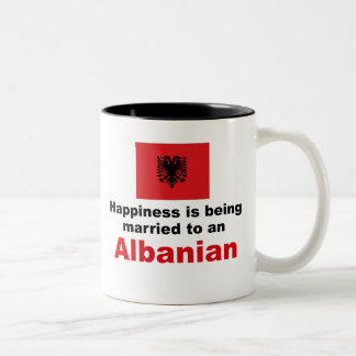 Happily Married To Albanian Two-Tone Coffee Mug