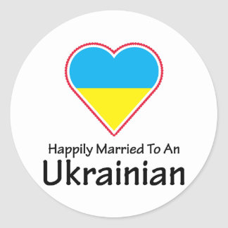 Happily Married Ukrainian Classic Round Sticker