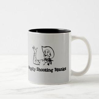 Happily Shooting Blanks Two-Tone Coffee Mug