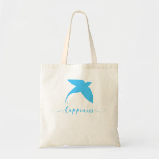 Happiness Abstract Blue Bird Design Tote Bag