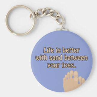 Happiness Beach Sand Toes Ocean Blue Keychain