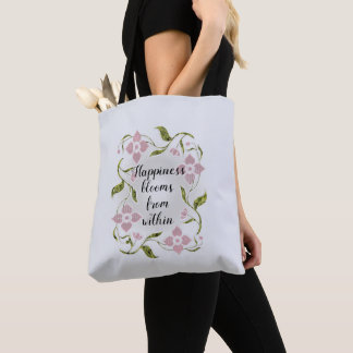 Happiness Blooms from Within Pink Floral Vine Tote Bag