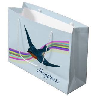 """""""Happiness"""", Bluebird and Rainbow Large Gift Bag"""
