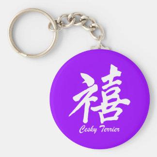 happiness Cesky Terrier Keychain