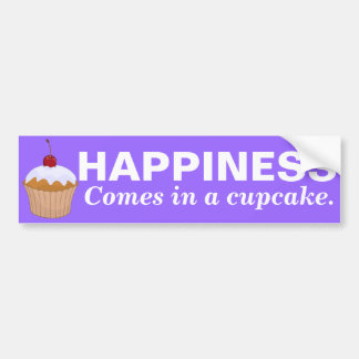 Happiness Comes In a Cupcake Bumper Sticker