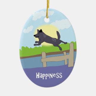 Happiness Dog - Paw of Attraction Ceramic Ornament