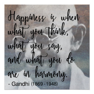 Happiness - Gandhi Quote Poster