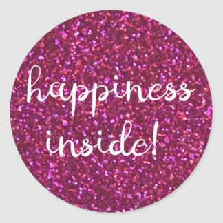 Happiness inside! Faux pink glitter sticker