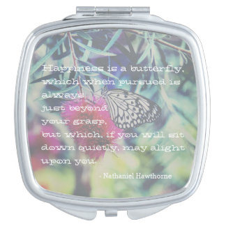 Happiness is a Butterfly - Inspiring Quote Mirror For Makeup