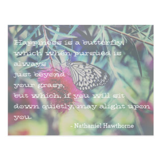 Happiness is a Butterfly - Inspiring Quote Postcard