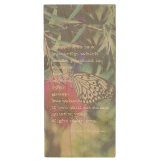 Happiness is a Butterfly - Inspiring Quote Wood USB 2.0 Flash Drive