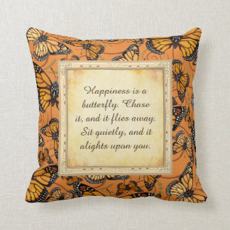 Happiness is a Butterfly: Monarch Butterfly Throw Pillow