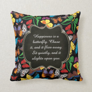 Happiness is a Butterfly Throw Pillow