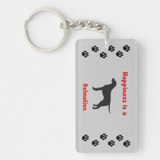 Happiness is a Dalmation Single-Sided Rectangular Acrylic Keychain