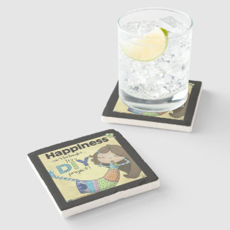 Happiness is a DIY Project Stone Coaster