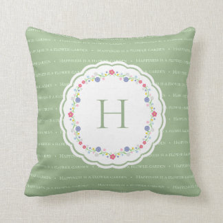 Happiness is a Garden Shakespeare Quote Monogram Throw Pillow