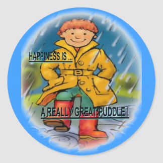 HAPPINESS IS A GREAT PUDDLE ROUND STICKER
