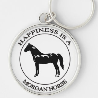 Happiness is a Morgan Horse Silver-Colored Round Keychain
