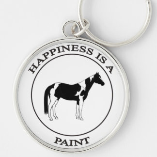 Happiness is a Pinto Silver-Colored Round Keychain
