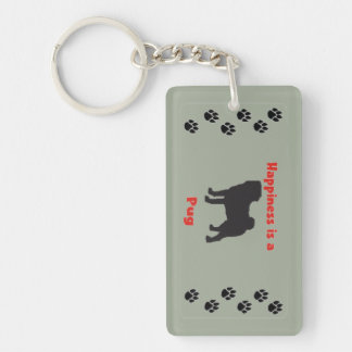 Happiness is a Pug Single-Sided Rectangular Acrylic Keychain