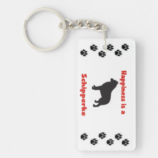 Happiness is a Schipperke Single-Sided Rectangular Acrylic Keychain