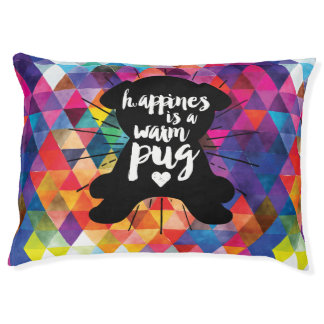 Happiness Is A Warm Pug Colorful Dog Pet Bed