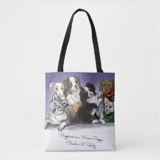 Happiness is a Warm Puppy Christmas Tote Bag