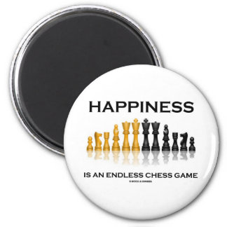 Happiness Is An Endless Chess Game 2 Inch Round Magnet
