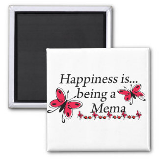 Happiness Is Being A Mema BUTTERFLY Square Magnet
