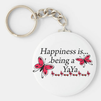 Happiness Is Being A YaYa BUTTERFLY Basic Round Button Keychain