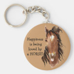 Happiness is being  loved by a HORSE! Humour Key Chain