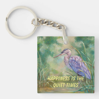"""""""Happiness is"""" - Blue Heron Pastel Painting Keychain"""
