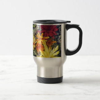 Happiness is handmade wooden flowers travel mug